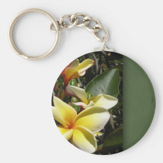 Yellow tropical plumeria flower keychain