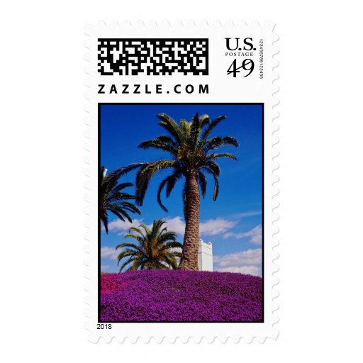 Yellow Tropical scene flowers Postage Stamps