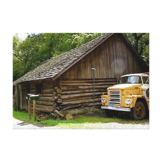 Yellow Truck & Calistoga Wood Cabin Canvas Print