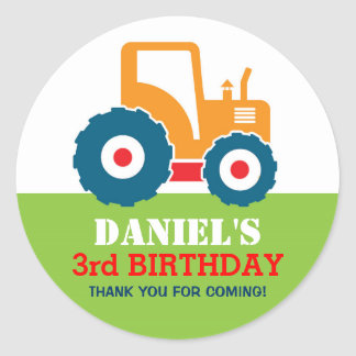 Yellow Truck Cartoon Kids Birthday Party Sticker
