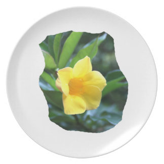 Yellow Trumpet Flower Photograph Melamine Plate