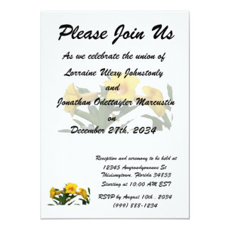 Yellow Trumpet Flowers cutout photo Invitation