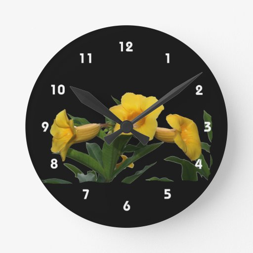 Yellow Trumpet Flowers cutout photo Round Clock
