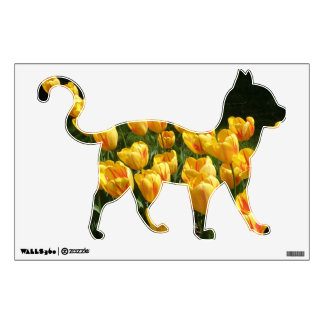 Yellow Tulip Floral Cats Wall Decal