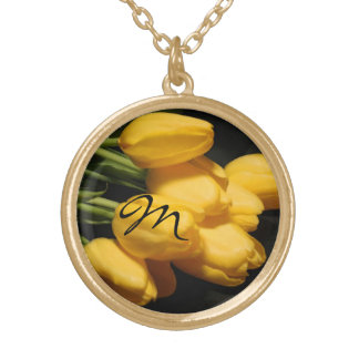 Yellow Tulip Floral Monogram Gold Chain Necklace