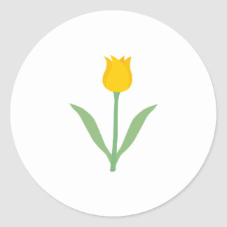 Yellow Tulip Flower. Classic Round Sticker