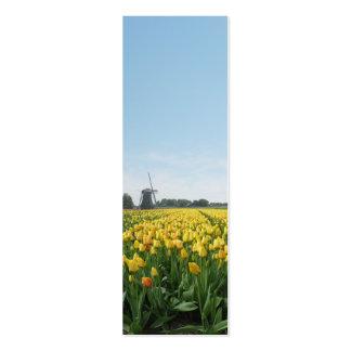 Yellow Tulip Flower Field Windmill Mini Business Card