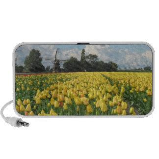 Yellow Tulip Flower Field Windmill iPod Speaker