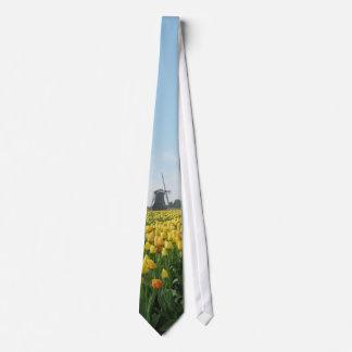 Yellow Tulip Flowers Field Windmill Holland Tie