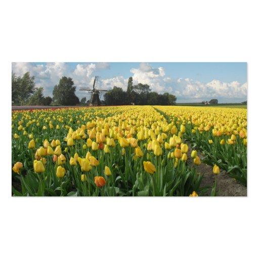 Yellow Tulip Flowers Field Windmill Landscape Business Card Templates