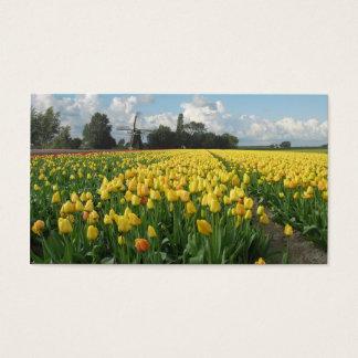 Yellow Tulip Flowers Field Windmill Landscape Business Card