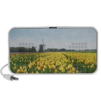 Yellow Tulip Flowers Field Windmill Notebook Speakers