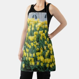 Yellow tulip flowers in happy spring   apron