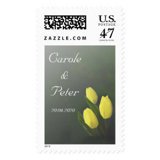 Yellow Tulip Flowers Personalised Wedding Stamps