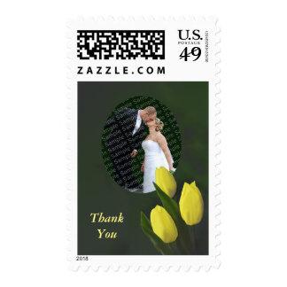 Yellow Tulip Flowers Wedding Thank You Stamp