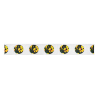 Yellow tulip flowers blank ribbon