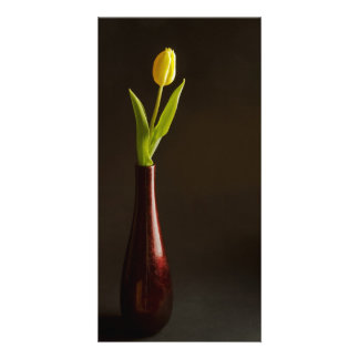 yellow tulip in dark red vase personalised photo card
