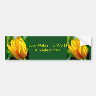 Yellow Tulip Love Art Car Bumper Sticker