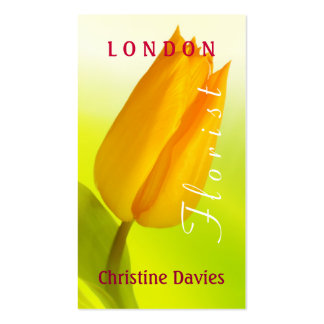 Yellow tulip macro photograhy, florist business card template