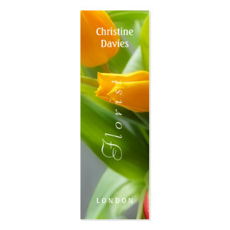 Yellow tulip macro photograhy, florist business card