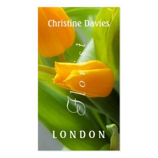 Yellow tulip macro photograhy, florist business card templates