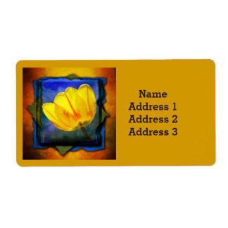 Yellow Tulip on Blue Orange Green Address Label