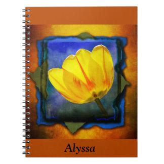 Yellow Tulip on Orange Blue Green Notebook