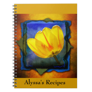 Yellow Tulip on Orange Blue Green Personalized Notebook