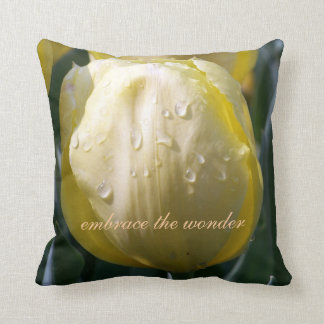 Yellow Tulip Quote Throw Pillow