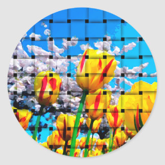 Yellow Tulip Weave Classic Round Sticker