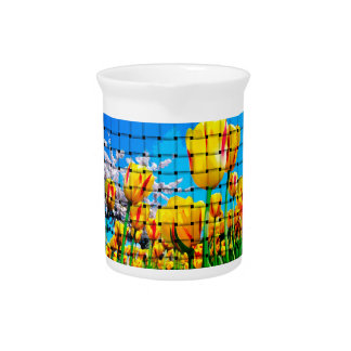 Yellow Tulip Weave Drink Pitcher