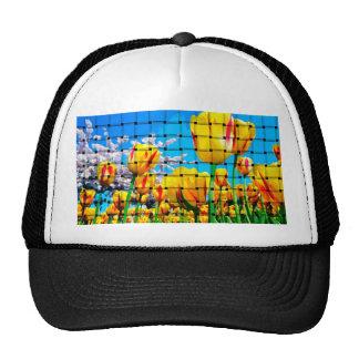 Yellow Tulip Weave Trucker Hats