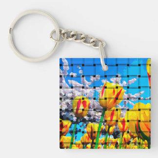 Yellow Tulip Weave Keychain