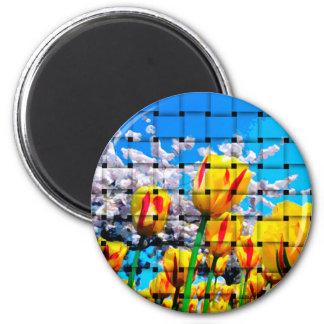 Yellow Tulip Weave Magnet
