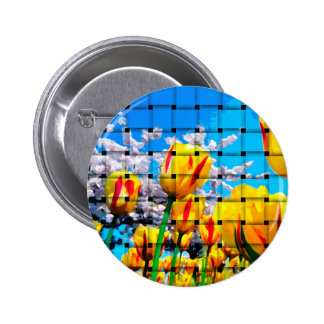 Yellow Tulip Weave Pinback Button