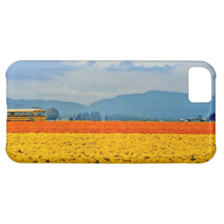 Yellow Tulips and School Bus Cover For iPhone 5C