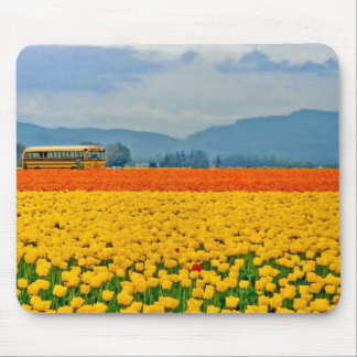 Yellow Tulips and School Bus Mouse Pads