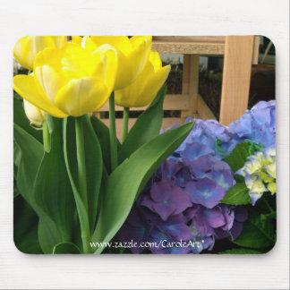 Yellow Tulips Blue Hydrangea Mousepad