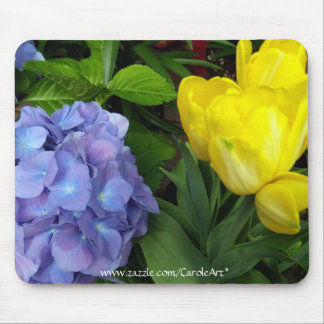 Yellow Tulips Blue Hydrangeas II Mouse Pad