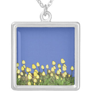 Yellow Tulips Blue Square Silver Plated Necklace