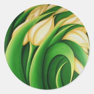Yellow Tulips Classic Round Sticker