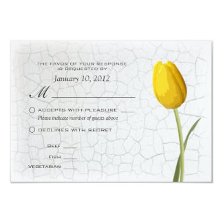 Yellow Tulips Crackle Paint RSVP w/ Meal Options 3.5x5 Paper Invitation Card