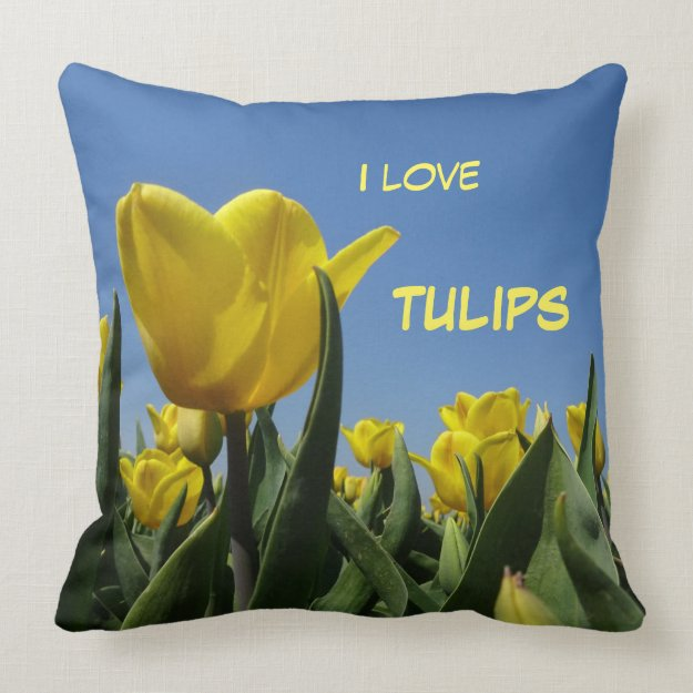 Yellow Tulips Field Cust. Text Throw Pillow