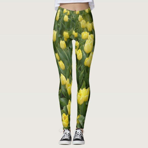 Yellow Tulips Field Legging