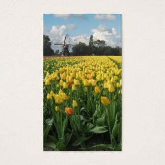 Yellow Tulips Flower Field Windmill Landscape Business Card