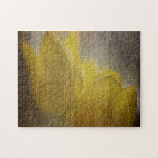 Yellow Tulips Flowers Rustic Floral Art Jigsaw Puzzle