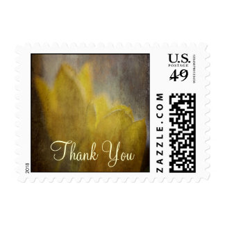 Yellow Tulips Flowers Rustic Floral Art Postage