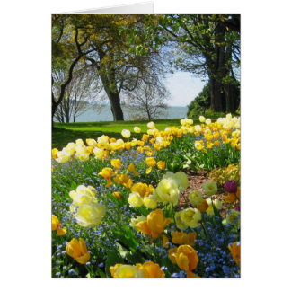 Yellow Tulips & Forget-me-nots Note Card