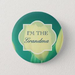 Yellow Tulips Grandma Baby Shower Pinback Button