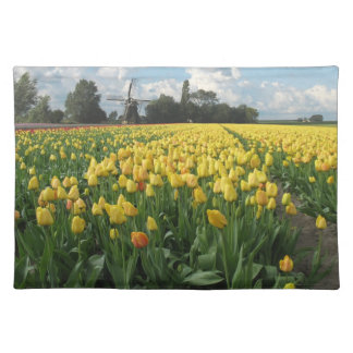 Yellow Tulips in a Field Holland Cloth Placemat